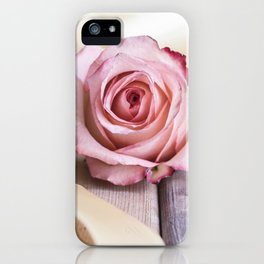 Pink rose and golden ribbon iPhone Case