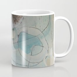 still waters - mixed media ocean collage in modern fresh colors mint, teal, cream, white, and gold Coffee Mug