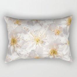 White Cherry Blossoms Pattern Rectangular Pillow