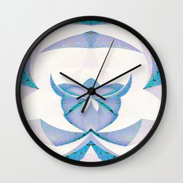 Origami Orchid Blue and White Wall Clock