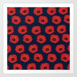 Imagine Poppies - Indigo Background Art Print