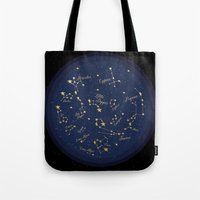 constellations Tote Bags featuring Constellations by Cina Catteau