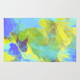 Hint Of Summer - Abstract, textured painting Rug