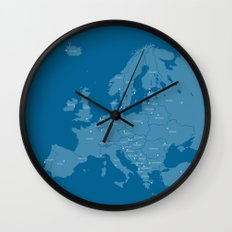 Europe map - blue Wall Clock