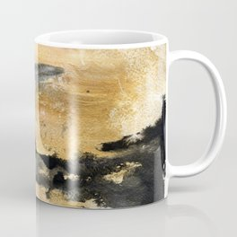 Black and Gold Brush Stroke Abstract Coffee Mug