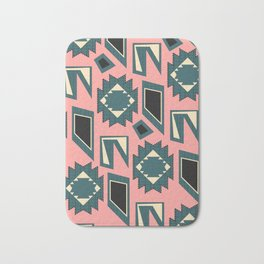 Shapes and strokes in blue and coral Bath Mat
