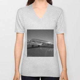 Douglas DC-3 Dakota Military Art Deco Airplane black and white photograph / art photography by Brian Burger Unisex V-Neck