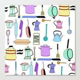 Kitchen essentials in pastel Canvas Print