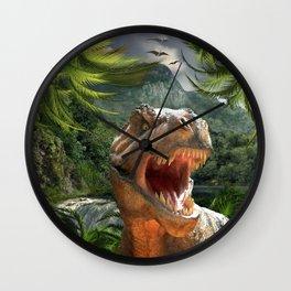 T Rex in Prehistoric Landscape Wall Clock