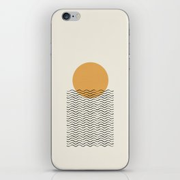 Ocean wave gold sunrise - mid century style iPhone Skin