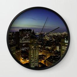 Downtown Manhattan at Night Wall Clock