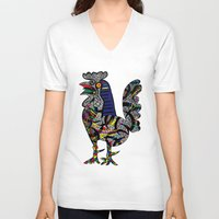 pablo picasso V-neck T-shirts featuring Pablo Picasso - The Cock by T.Grimm