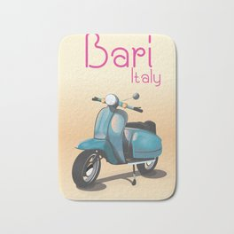 Bari Italy Scooter travel poster Bath Mat