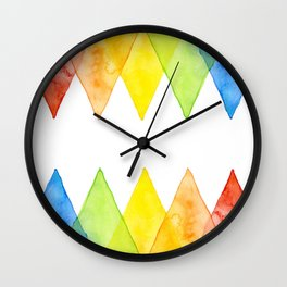 Geometric Watercolor Shapes Triangles Pattern Wall Clock