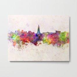 Reykjavik skyline in watercolor background Metal Print