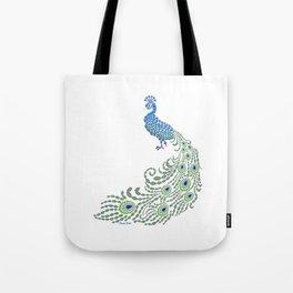 Jeweled Peacock on White Tote Bag