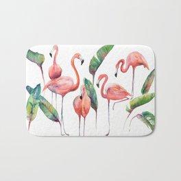 Pink Flamingos with some Strelizia Foliage Bath Mat