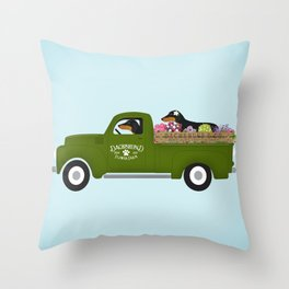 Dachshund Flower Farm Artwork by Stephen Fowler Throw Pillow
