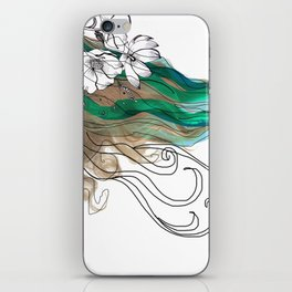 Mujer con flores iPhone Skin