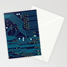 Dark Circuit Board Stationery Cards