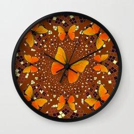 Golden Butterflies Coffee Brown Pattern Art Wall Clock