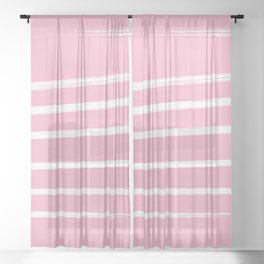 Pink & White Abstract Sheer Curtain