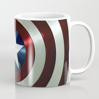 steve rogers Mugs featuring Captain Steve Rogers Shields  by neutrone