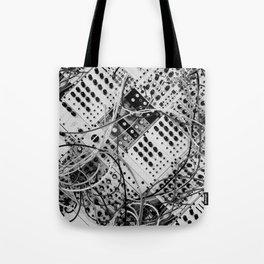 analog synthesizer  - diagonal black and white illustration Tote Bag