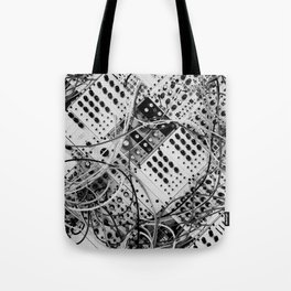 analog synthesizer  - diagonal black and white illustration Tote Bag