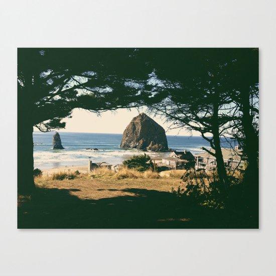 Haystack Rock Through Trees Canvas Print