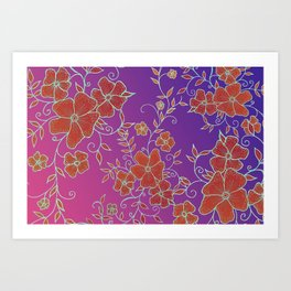 Red and Purple Flower Pattern Art Print