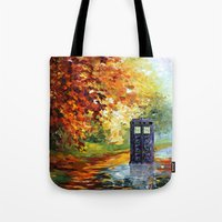 fandom Tote Bags featuring starry Autumn blue phone box Digital Art iPhone 4 4s 5 5c 6, pillow case, mugs and tshirt by Three Second