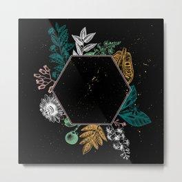 Exotic Plant Hexagon Black Metal Print