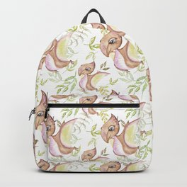 Watercolor Png Brown Dinosaur Hand Drawn Illustration Pattern Backpack