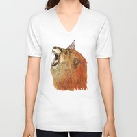 lion V-neck T-shirts featuring Birthday Lion by Sandra Dieckmann