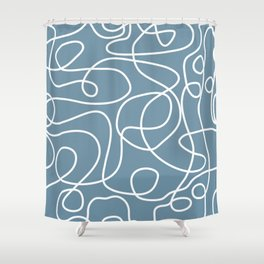 Doodled White Lines Pattern on Slate Gray Shower Curtain