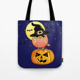 Haloween owl, pumpkin and bats illustration Tote Bag