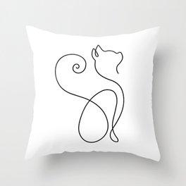 Luxurious Cat Minimalist Cat Minimalism Outline Lineart Throw Pillow