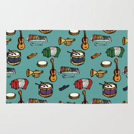 Toy Instruments on Teal Rug