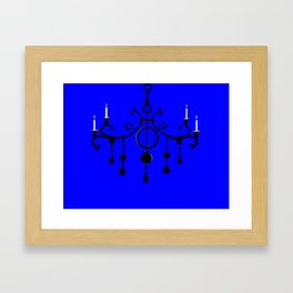 A Chandler with Candles and a Blue Background Framed Art Print