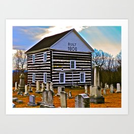The Old Log Church Art Print