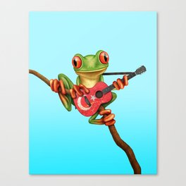 Tree Frog Playing Acoustic Guitar with Flag of Turkey Canvas Print