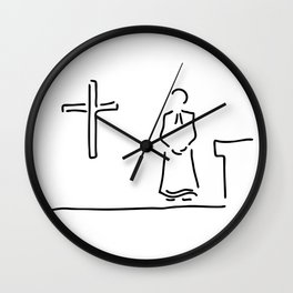 priest with cup in church Wall Clock