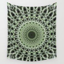 Mandala in pastel green tones Wall Tapestry