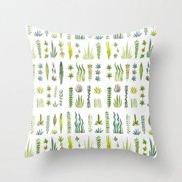 Green Leafy Garden Throw Pillow