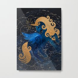Unicorn in Space, Magical Astronomy, Kids Gift Metal Print