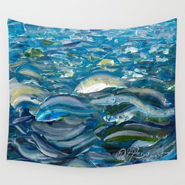 Original Oil Painting With Palette Knife On Canvas  Impressionist Roling Blue Sea Waves by OLena Art Wall Tapestry