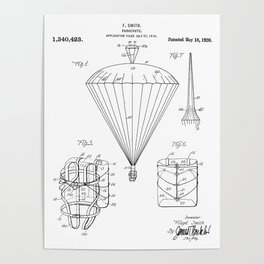 Parachute Patent - Sky Diving Art - Black And White Poster