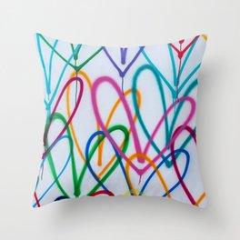 Multicoloured Love Hearts Graffiti Repeat Pattern Throw Pillow