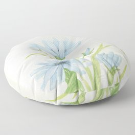 Watercolor Garden Flower Blue Cornflower Wildflower Floor Pillow